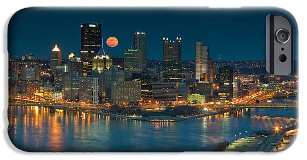 Roberto Clemente iPhone Cases - 2011 Supermoon over Pittsburgh iPhone Case by Jennifer Grover
