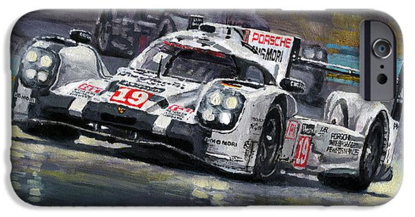 Automotive iPhone Cases - 2015 Le Mans 24 LMP1 WINNER Porsche 919 Hybrid Bamber Tandy Hulkenberg iPhone Case by Yuriy Shevchuk