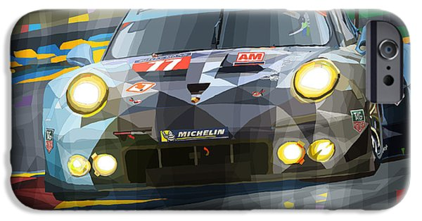 Racing Mixed Media iPhone Cases - 2015 Le Mans GTE-Am Porsche 911 RSR iPhone Case by Yuriy Shevchuk