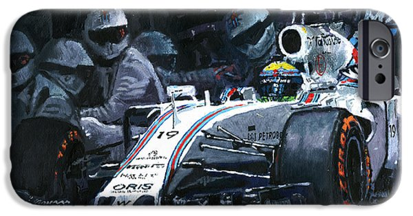 Barcelona Paintings iPhone Cases - 2015 Williams FW37 F1 Pit Stop Spain GP Massa  iPhone Case by Yuriy Shevchuk