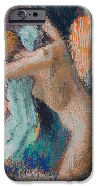 Bathing iPhone Cases - After The Bath iPhone Case by Edgar Degas