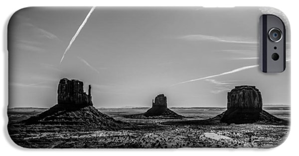 Red Rock iPhone Cases - Monument valley under the blue sky iPhone Case by Alexandr Grichenko