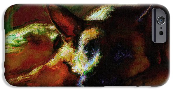 Dogs Digital Art iPhone Cases - Dog Portrait Art Print iPhone Case by Victor Gladkiy