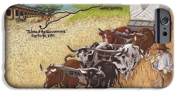 Santa Pastels iPhone Cases - 25th Anniversary Santa Fe Trail Association iPhone Case by Tracy L Teeter