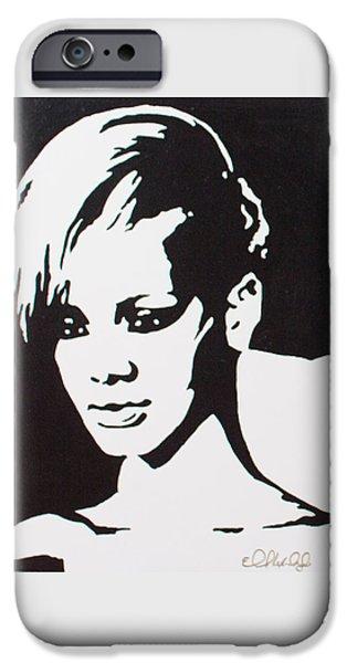 Rihanna Paintings iPhone Cases - Rihanna iPhone Case by El Alexander