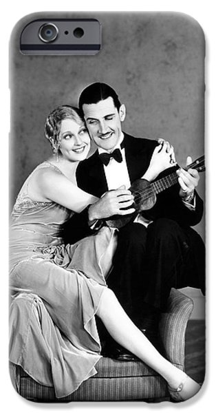 Ukelele iPhone Cases - Silent Film Still: Couples iPhone Case by Granger