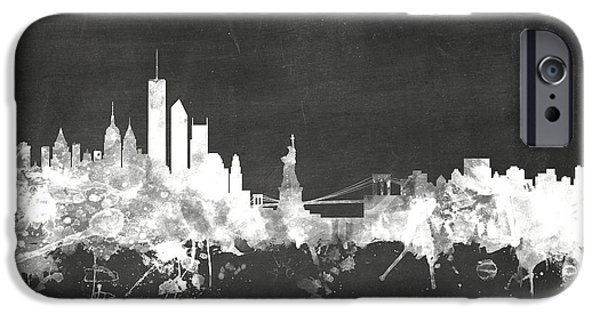 Board Digital Art iPhone Cases - New York Skyline iPhone Case by Michael Tompsett