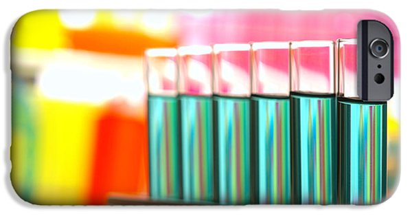 Chemistry iPhone Cases - Test Tubes in Science Research Lab iPhone Case by Olivier Le Queinec