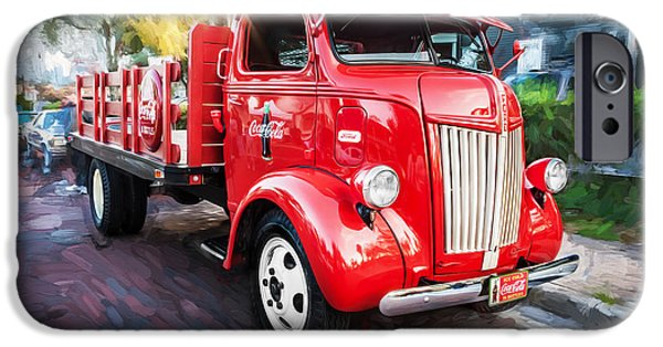 Delivery Truck iPhone Cases - 1947 Ford Coca Cola Delivery Truck Painted BW iPhone Case by Rich Franco