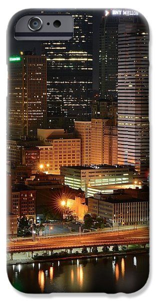 Pennsylvania Baseball Parks iPhone Cases - A Pittsburgh Night iPhone Case by Frozen in Time Fine Art Photography