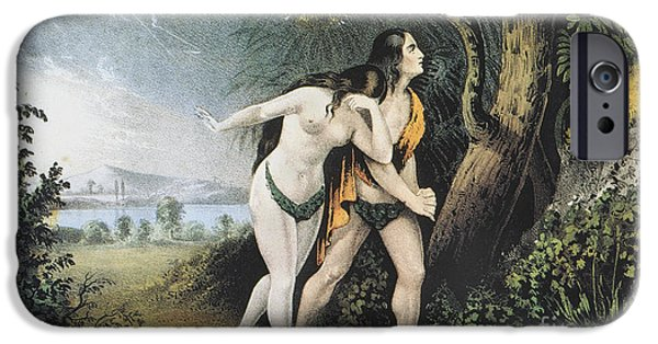 Serpent iPhone Cases - Adam And Eve iPhone Case by Granger
