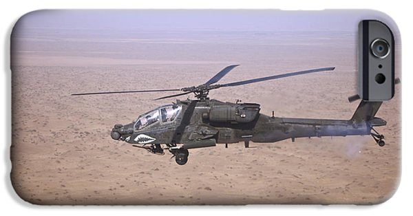 Iraq iPhone Cases - An Ah-64d Apache Longbow Fires A Hydra iPhone Case by Terry Moore