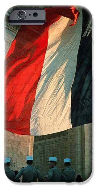 Police iPhone Cases - At the Arc de Triomphe iPhone Case by Carl Purcell