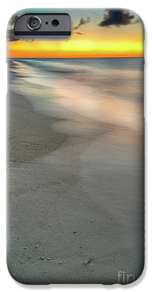 Sun Digital Art iPhone Cases - Beach Sunset iPhone Case by Adrian Evans