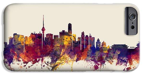 Beijing iPhone Cases - Beijing China Skyline iPhone Case by Michael Tompsett