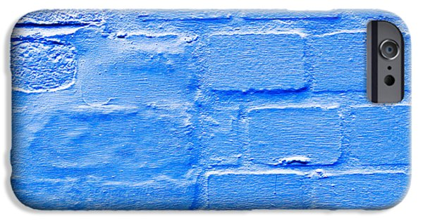 Aging iPhone Cases - Blue brick wall iPhone Case by Tom Gowanlock