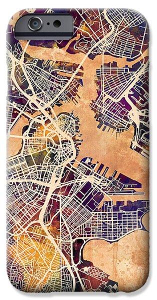 City. Boston iPhone Cases - Boston Massachusetts Street Map iPhone Case by Michael Tompsett