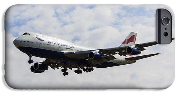 Airways Photographs iPhone Cases - British Airways Boeing 747 iPhone Case by David Pyatt
