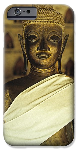Statue Portrait iPhone Cases - Buddha  iPhone Case by Maria Heyens