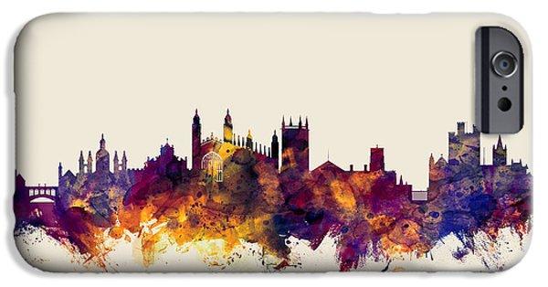 Cambridge iPhone Cases - Cambridge England Skyline iPhone Case by Michael Tompsett