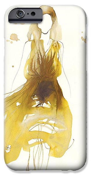 Contemporary Art Drawings iPhone Cases - Catwalk iPhone Case by Toril Baekmark