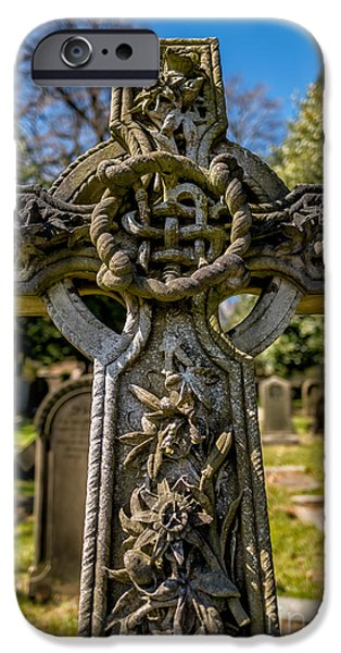 Tombstones iPhone Cases - Celtic Cross iPhone Case by Adrian Evans