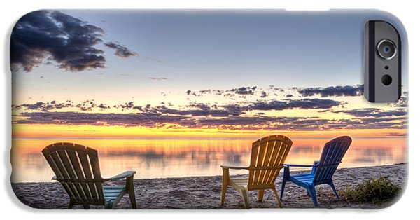Relaxed iPhone Cases - 3 Chairs Sunrise iPhone Case by Scott Norris
