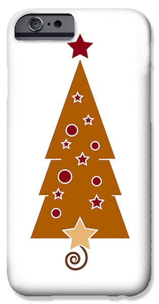 Nouveau Drawings iPhone Cases - Christmas Tree iPhone Case by Frank Tschakert
