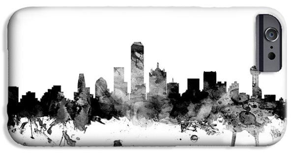 Texas Digital iPhone Cases - Dallas Texas Skyline iPhone Case by Michael Tompsett
