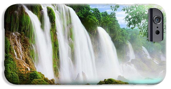 Freshness iPhone Cases - Detian waterfall iPhone Case by MotHaiBaPhoto Prints