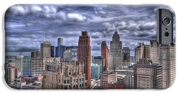 Best Sellers -  - Built Structure iPhone Cases - Detroit Skyline iPhone Case by Cindy Lindow