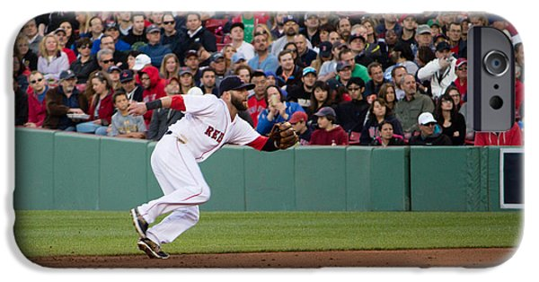 Dustin Pedroia iPhone Cases - Dustin Pedroia Red Sox iPhone Case by Monica Wellman