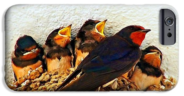 Barn Swallow Paintings iPhone Cases - Group of young swallows in the nest digitally painted iPhone Case by Ken Biggs