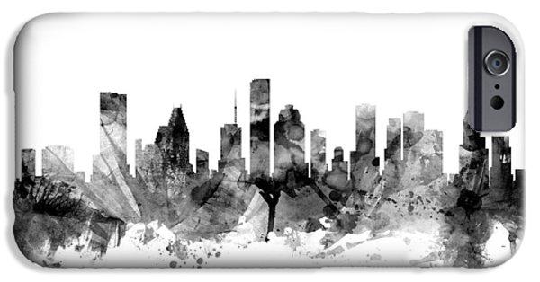 Texas Digital iPhone Cases - Houston Texas Skyline iPhone Case by Michael Tompsett