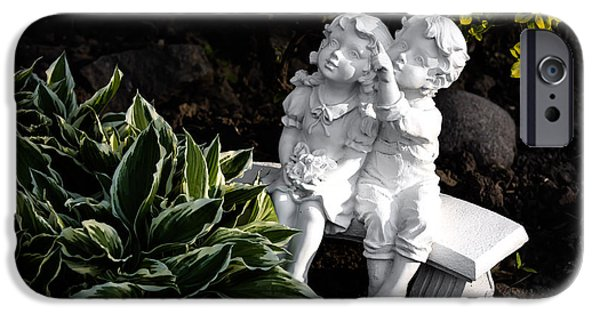 Statues Pyrography iPhone Cases - In The Garden iPhone Case by Olga Photography