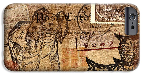 Elephants Mixed Media iPhone Cases - 3 Kittens in the Congo Postcard iPhone Case by Carol Leigh