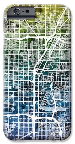 Recently Sold -  - United iPhone Cases - Las Vegas City Street Map iPhone Case by Michael Tompsett