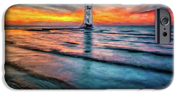Ruin iPhone Cases - Light House Sunset iPhone Case by Adrian Evans