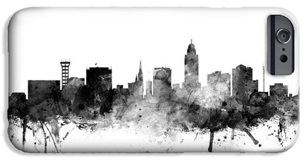 Lincoln Digital iPhone Cases - Lincoln Nebraska Skyline iPhone Case by Michael Tompsett