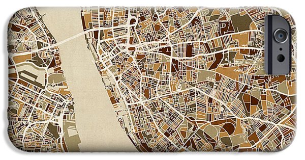 Retro Abstract iPhone Cases - Liverpool England Street Map iPhone Case by Michael Tompsett