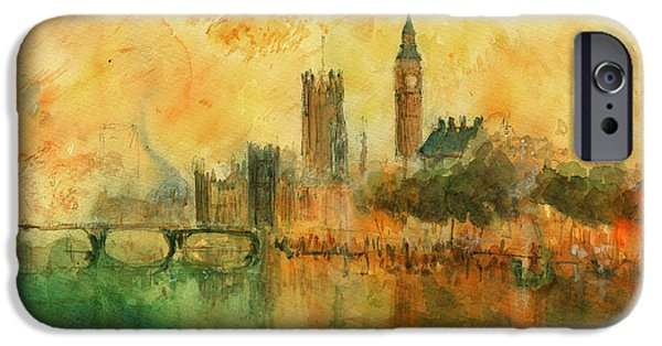 Original Watercolor iPhone Cases - London watercolor painting iPhone Case by Juan  Bosco