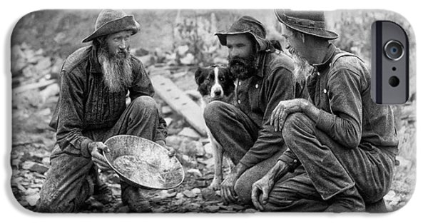 Beard iPhone Cases - 3 MEN and a DOG PANNING for GOLD c. 1889 iPhone Case by Daniel Hagerman