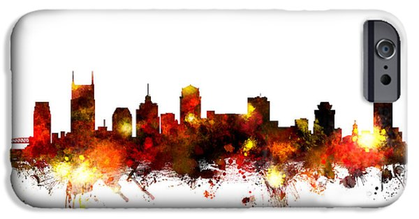United States iPhone Cases - Nashville Tennessee Skyline iPhone Case by Michael Tompsett