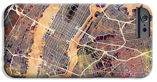 New York City Digital Art iPhone Cases - New York City Street Map iPhone Case by Michael Tompsett