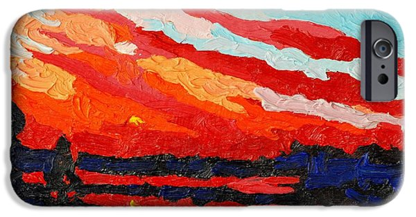 Canoe iPhone Cases - November Sunset iPhone Case by Phil Chadwick
