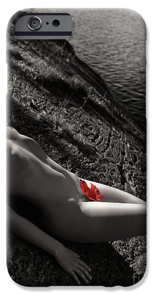 Nude Woman Lying on Rocks by the Water iPhone Case by Oleksiy Maksymenko