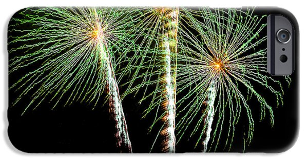 July 4th iPhone Cases - 3 Palm Trees Fireworks iPhone Case by Brian Tada