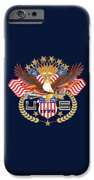 4th July Mixed Media iPhone Cases - Patriotic America Mixed Designs W-Transparent Back Pick your color iPhone Case by Bill Campitelle