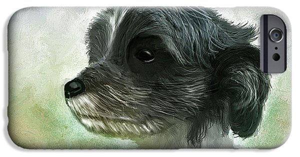 Time2paint iPhone Cases - Pet Dog Portrait iPhone Case by Michael Greenaway