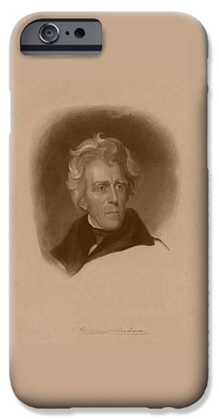 Founding Fathers Mixed Media iPhone Cases - President Andrew Jackson iPhone Case by War Is Hell Store